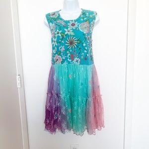 Antica Sartoria Lace, Beads, Embroidery Boho Dress